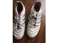 White Adidas size 9 Astro shoes (football)