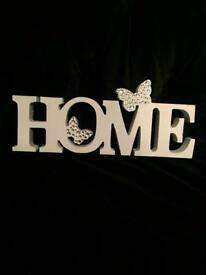 White HOME ornament with diamanté butterflies wooden