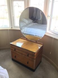 Art Deco dressing table with round mirror and plate glass top