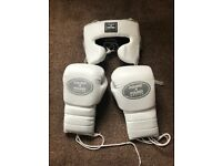 Pound 4 pound 16oz lace up sparring gloves + medium gladiator head guard