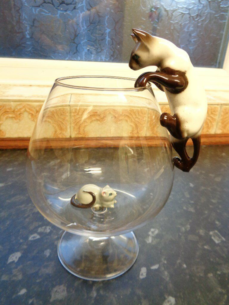 Vintage Cat Amp Mouse In A Brandy Glass In Birstall