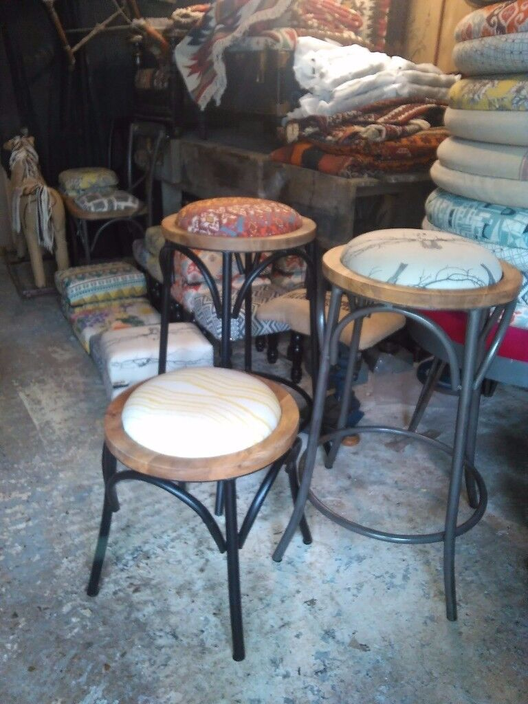 Metal bar stools bistro chairs and low stools funky fabrics or solid wood seats vintage Thonet style