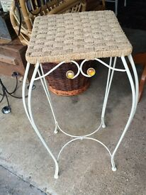 Metal and Wicker plant stand or stool