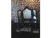 Black Shimmered Dressing Table Set with Chest of Draws to Match