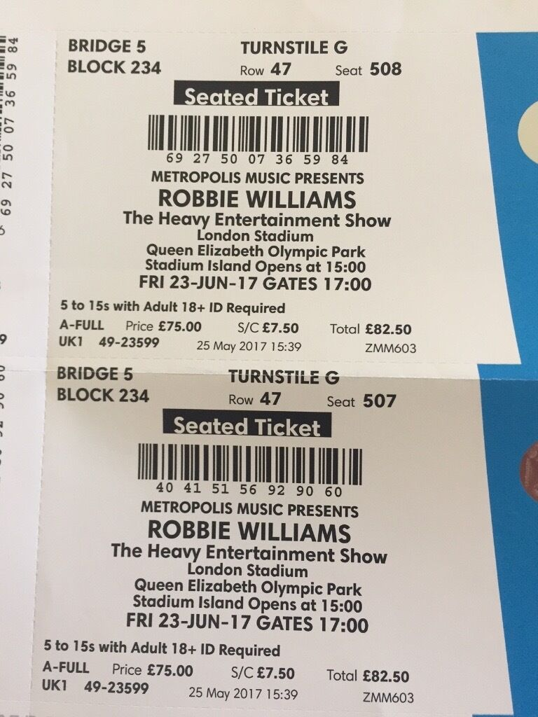 2x Robbie William gig tickets for Friday 23rd June (London Stadium)