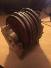 Wooden cup coasters