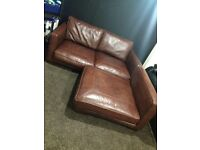 Brown leather Sofa With Cushions For Sale