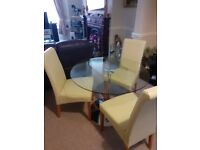 Glass Table & faux leather Chairs