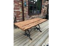 Cast iron base solid oak top rustic garden table