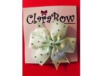 ClaraBow Mint Green Bow with Diamanté Detailing