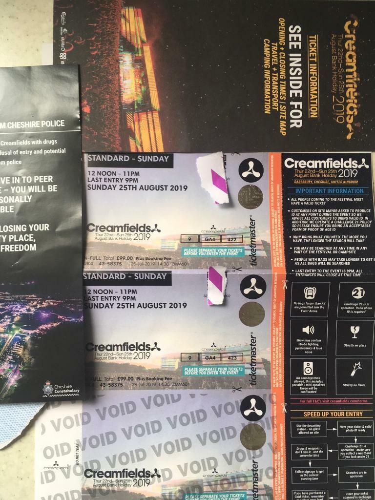 Creamfields tickets 2019 SUNDAY   in Stoneycroft, Merseyside   Gumtree