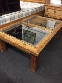 Large Mexican pine and glass coffee table