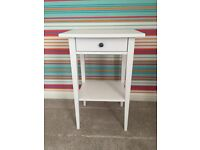 White single bedside units with draw and shelf