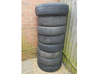 set of 8 ford transit 5 stud tyres with rims. 195R 14C