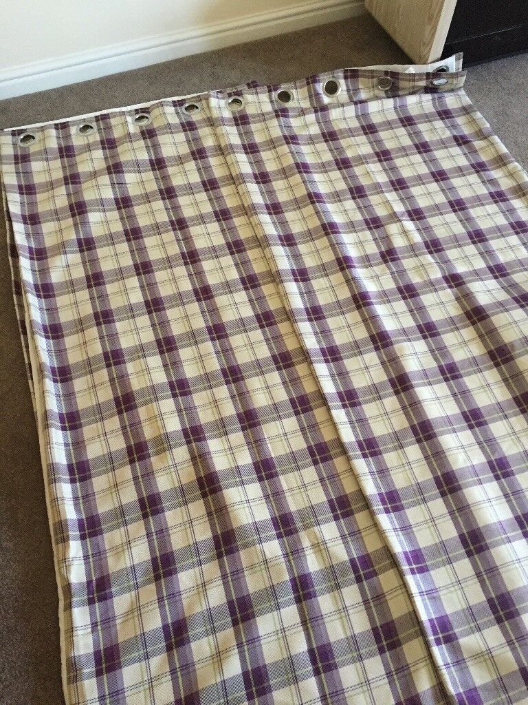 1x Pair fully lined ring top check curtains