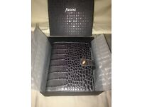 Filofax Osterley grey leather pocket organiser, box & inserts.