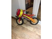 Boys kiddimoto balance bike & helmet