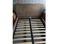 Faux suede double bed