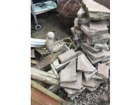 Paving slabs, bricks and rubble