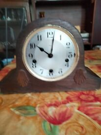 Vintage wooden case, chiming, Enfield mantel clock. Made in England.