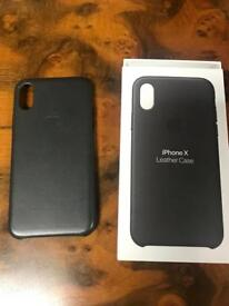 Genuine iPhone X leather case Charcoal Grey