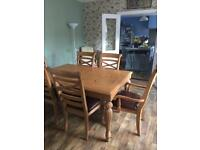 Solid pine table & chairs