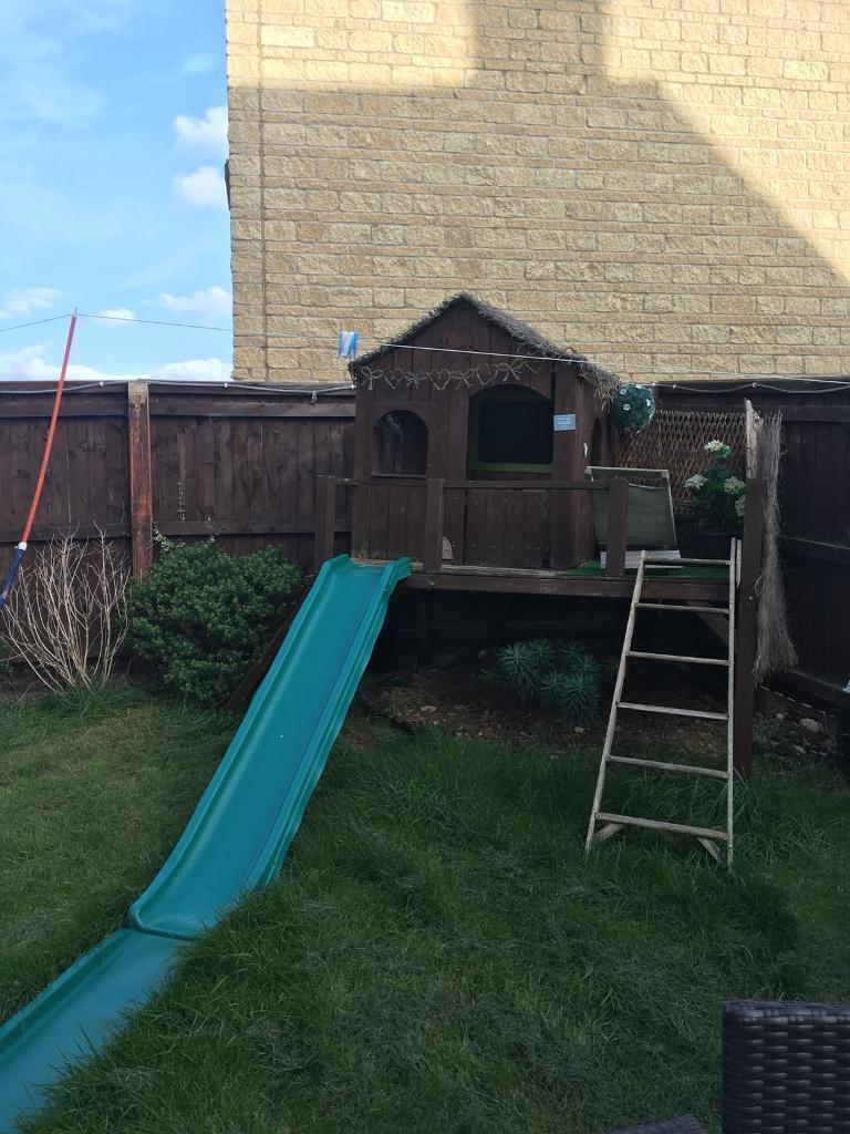 Kids wooden play house slide