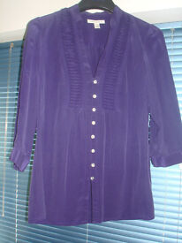 BANANA REPUBLIC LADIES SILK PURPLE BLOUSE SHIRT TOP JABOT RUFFLE SIZE M L & OTHER QUALITY CLOTHES!!!