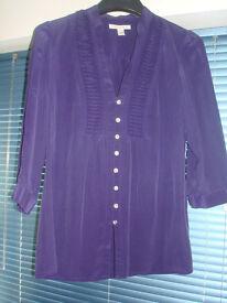 BANANA REPUBLIC LADIES SILK PURPLE BLOUSE SHIRT TOP JABOT RUFFLE SIZE M L & OTHER QUALITY CLOTHES!!!