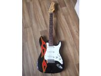 Fender Strat copy with flame decals