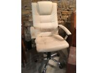 Leather Cream Office Chair (Excellent Condition)