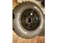 4 x BFGoodrich Mud Terrain 255/70R16 M+S tyres on black steel wheels