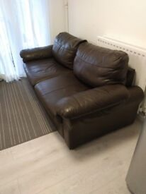 Comfy brown leather sofas