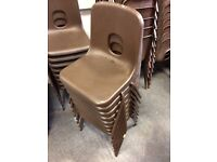 Small Brown Plastic Seat Metal Frame Stacking School Chairs - 50 Available