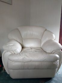 Cream Leather 3 Piece Suite Including Reclining Chair