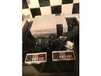 Nintendo NES console, classic gaming. 1980s