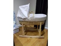 Kindervalley Stars Moses basket with Clair De Lune Rocking Stand
