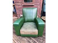 Pair of Retro Green Armchairs