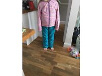 Girls trespass ski outfit trousers and jacket 9-10years
