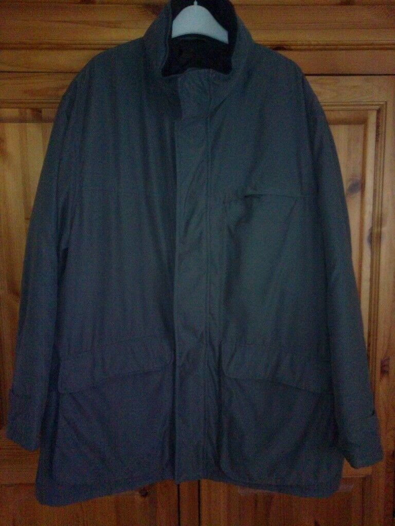 MENS MARKS & SPENCER DARK PEWTER GREY COAT CONCEALED HOOD, SIZE XXL, CHEST 47-49, BNWOT