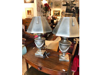 Pair of Resin Modern Lamps , great design and in good condition, height 29 in Price £120 for pair .