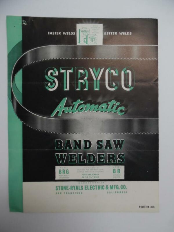 1946 STRYCO Band Saw Welders Tool Catalog Brochure Stone Ryals Mfg Co Vintage