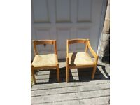 6 X RETRO KITCHEN CHAIRS DESIGNED FOR HABITAT 1960's BY MAGISTRETTI BEECH WITH RUSH SEATS