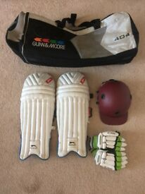 Boys cricket helmet and pads for sale
