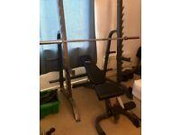 Heavy duty squat rack and bench