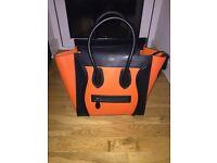 Celine Luggage Leather Black and Orange Bag