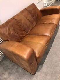 3 Seater Leather Sofa Brown (DFS Morale)