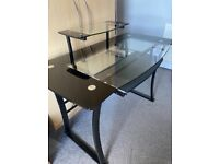 Black and Clear Tempered Glass Desk