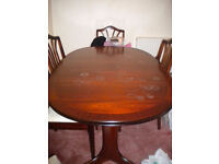 WILLIAM LAWRENCE SOLID WOOD DINING TABLE WITH 6 CHAIRS + FREE DELIVERY