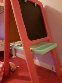 Pink ELC whiteboard/blackboard/easel